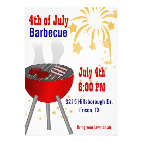 4th of July Barbecue Grill Invitation