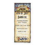 4th of July barbecue menu Rack Card Template