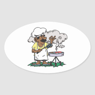 4th Of July Barbeque Oval Sticker