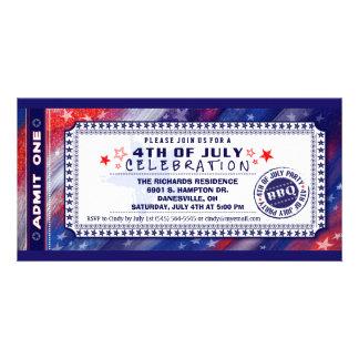 4th of July BBQ Admit One Ticket Invitation