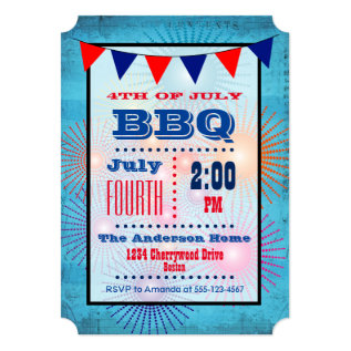 4th of July BBQ Flag and Fireworks Invitation at Zazzle