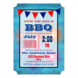 4th of July BBQ Flag and Fireworks Invitation