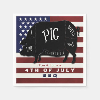 4th of July BBQ I Like Pig Butts and I Cannot Lie Napkin