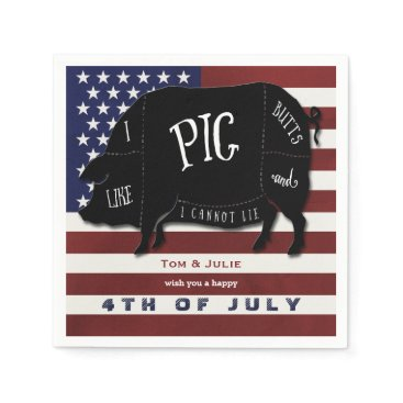 USA Themed 4th of July BBQ I Like Pig Butts and I Cannot Lie Paper Napkin