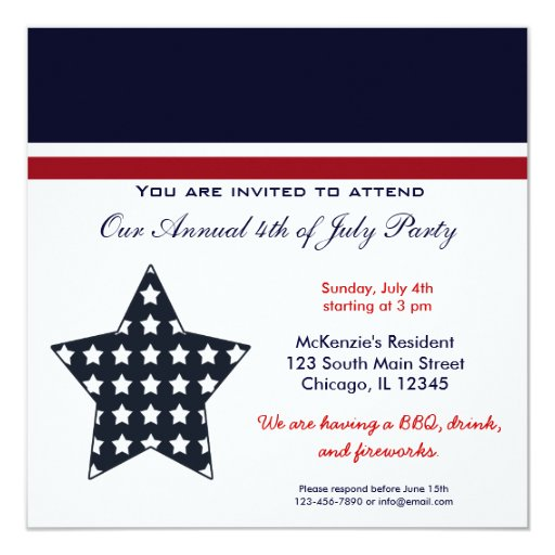 "4th of July BBQ Party 5.25"" Square Invitation Card"