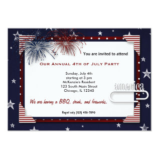 4th Of July Bbq Party Card at Zazzle