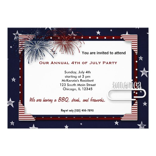 4th of July BBQ Party Custom Invites
