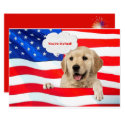 4th of July BBQ party dog on flag Invitation