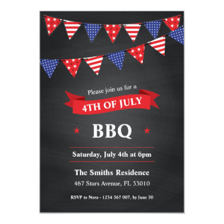 4th Of July Bbq Party Invitation at Zazzle