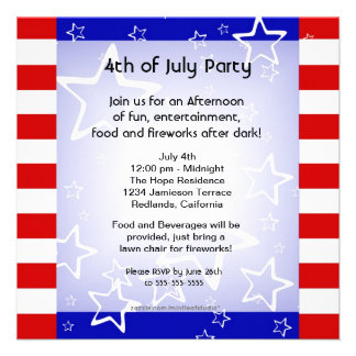 4th of July Bbq Party Invitation Red White Blue