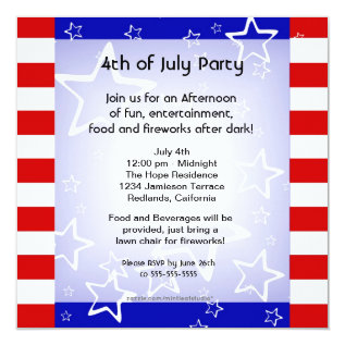 4th Of July Bbq / Party Invitation Red White Blue at Zazzle