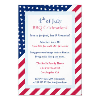4th of July BBQ Party Patriotic Stars Stripes Flag 3.5x5 Paper Invitation Card