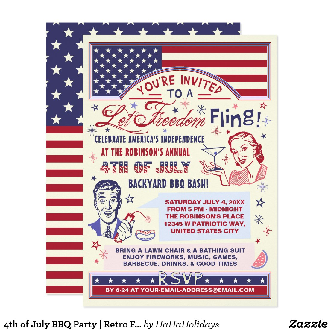 4th of July BBQ Party | Retro Freedom Fling Humor Card