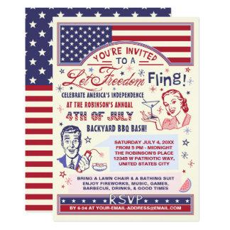 4th of July BBQ Party   Retro Freedom Fling Humor Invitation