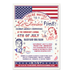 4th of July BBQ Party | Retro Freedom Fling Humor Invitation