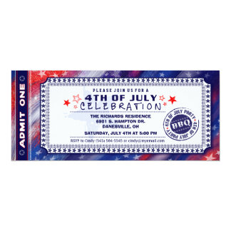 4th of July BBQ Party Ticket Invitation