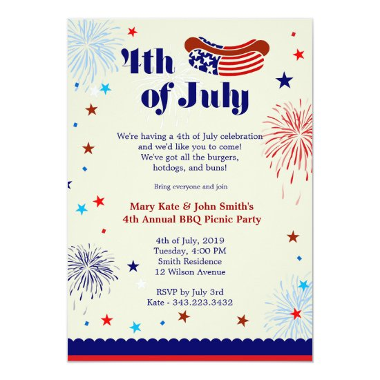 4th of July BBQ Picnic Invitation Party