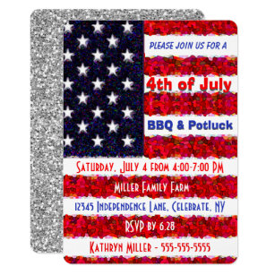 4th of July BBQ & Potluck Invitation