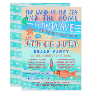4th of July Beach or Pool Party   Summer Swimming Card