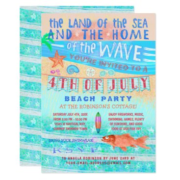 Beach Themed 4th of July Beach or Pool Party | Summer Swimming Card