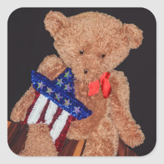 4th of July Bear Square Stickers, Glossy Square Sticker