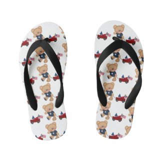 4th of July bear with wagon flip flops