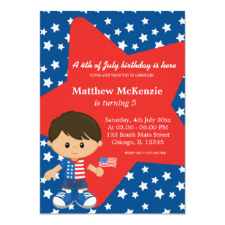 4th of July birthday boy Card