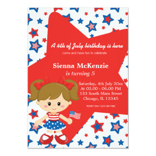 4th of July birthday girl Card at Zazzle