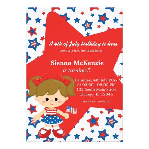 4th of July birthday girl Custom Invitation