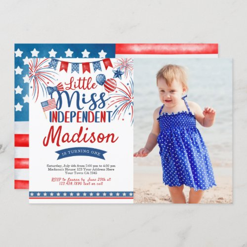 4th of July Birthday Little Miss Independent Invitation
