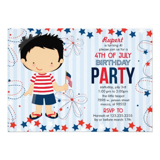 4th of July Birthday Party for Kids Announcements