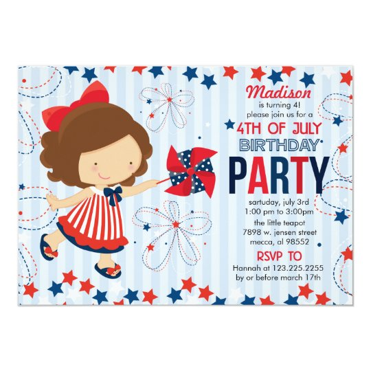 4th Of July Birthday Party For Kids Invitation