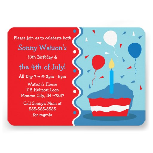 4th of July Birthday Party Invitations