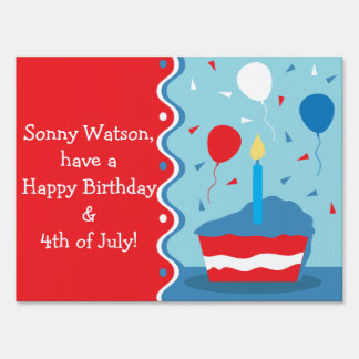 4th of July Birthday Party Yard Sign