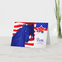 4th of July Birthday - Patriotic Horse Theme Card
