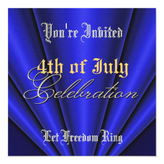 4th of July Blue Pleats Gold Party Invitation