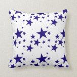4th of July Blue Star Splash Pattern on White Throw Pillows