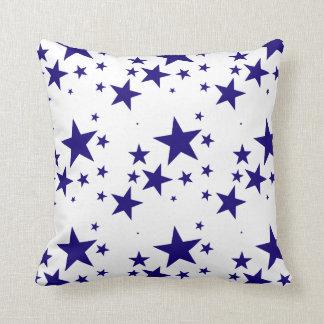 4th of July Blue Star Splash Pattern on White Throw Pillow
