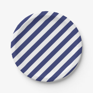 4th Of July Blue White Stripes Party Paper Plates