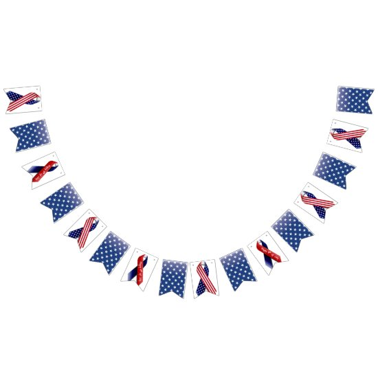 4th of July, Blue with White Stars Bunting Bunting Flags