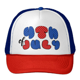 4th of July bold lettering, patriotic flag colors Trucker Hat