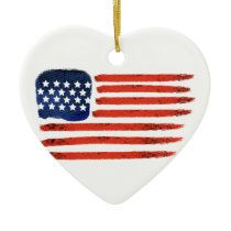 4th of July Brushed American Flag For Patriots Ceramic Ornament