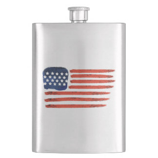 4th of July Brushed American Flag For Patriots Flask