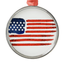 4th of July Brushed American Flag For Patriots Metal Ornament
