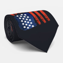 4th of July Brushed American Flag For Patriots Neck Tie