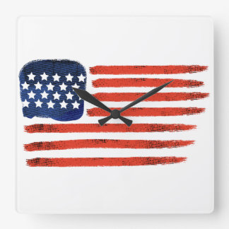 4th of July Brushed American Flag For Patriots Square Wall Clock