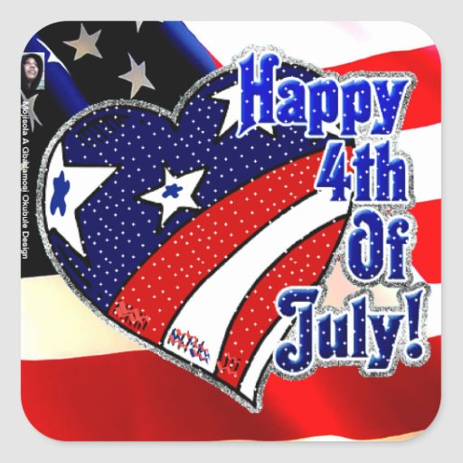 4th of July by Mojisola A Gbadamosi Okubule Design Square Sticker