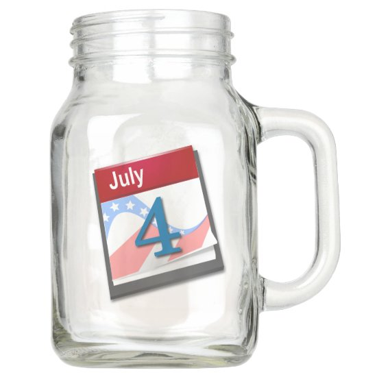 4th of July Calendar, Red White & Blue Country Mason Jar