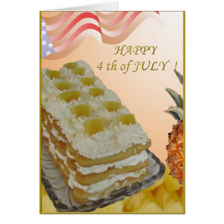 4th of july card with pineapple cake and recepe