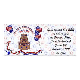 4th of July Celebration 4x9.25 Paper Invitation Card